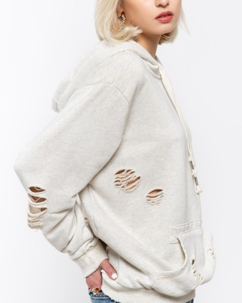 Stone Washed Pullover with Kangaroo Pockets L
