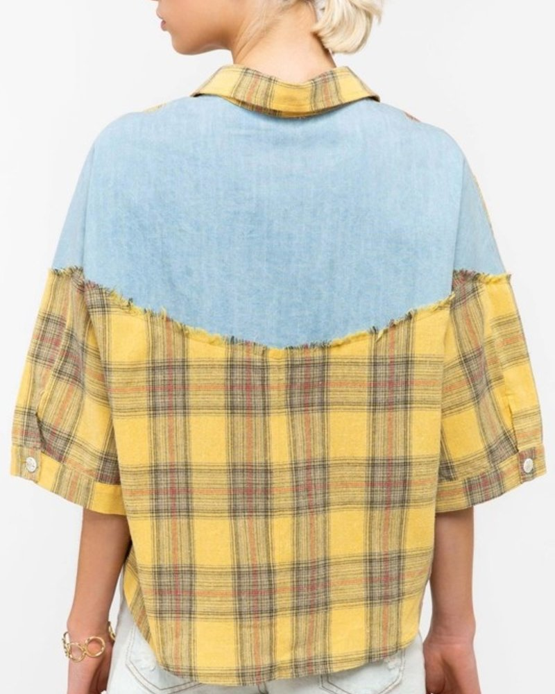 Yellow Plaid Top with Denim Backing L