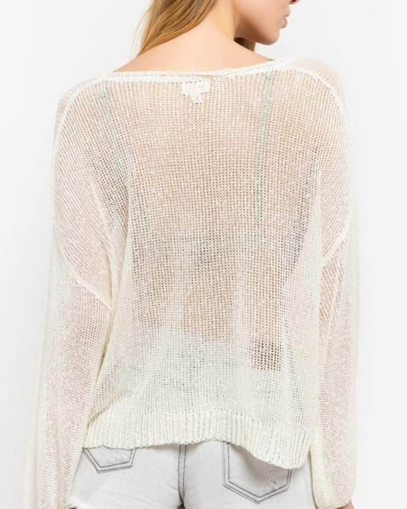 Ivory  Knit Pullover with Puffy Sleeve Detail