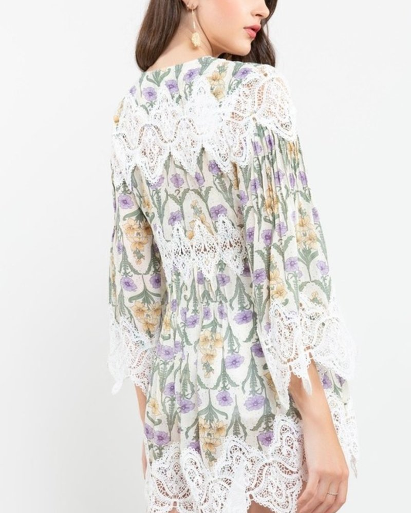 Cream Basted Floral Woven Tunic L