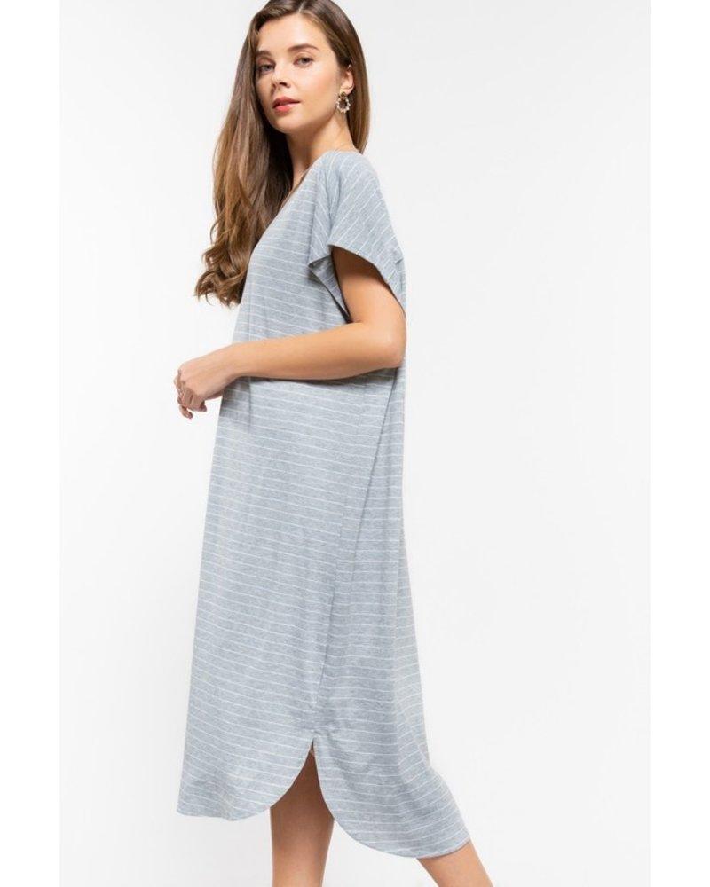 Grey/White Striped Dress Size M/L