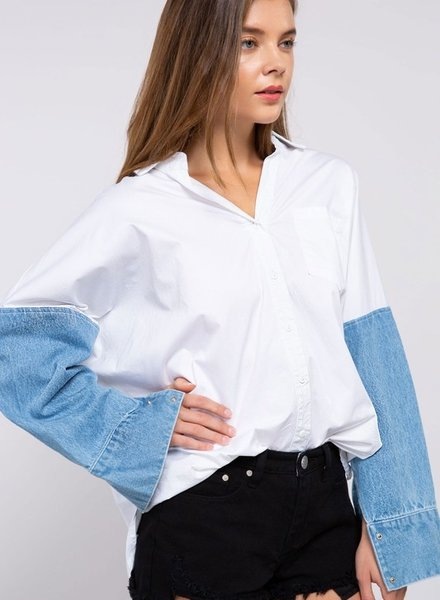 Denim/White Oversized Button Down Size Large