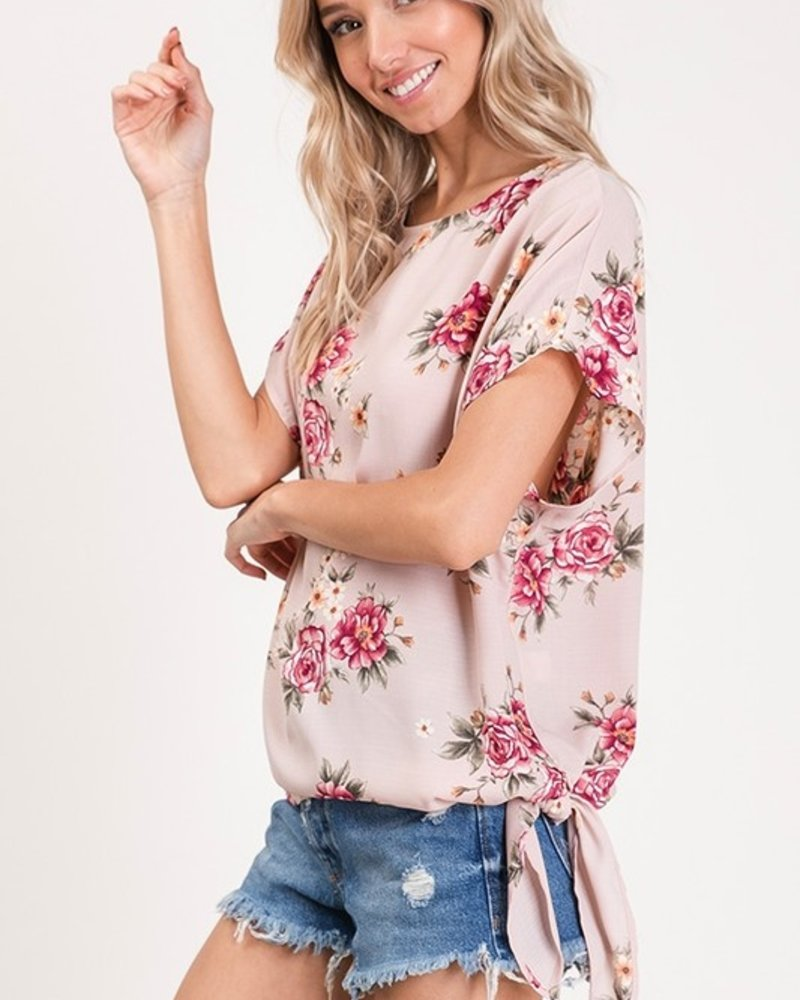 CY Fashion Flower Print Top with Keyhole Back and Side Tie