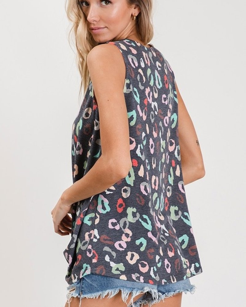 CY Fashion Print Tank with Peach Front Cage and Self Tie