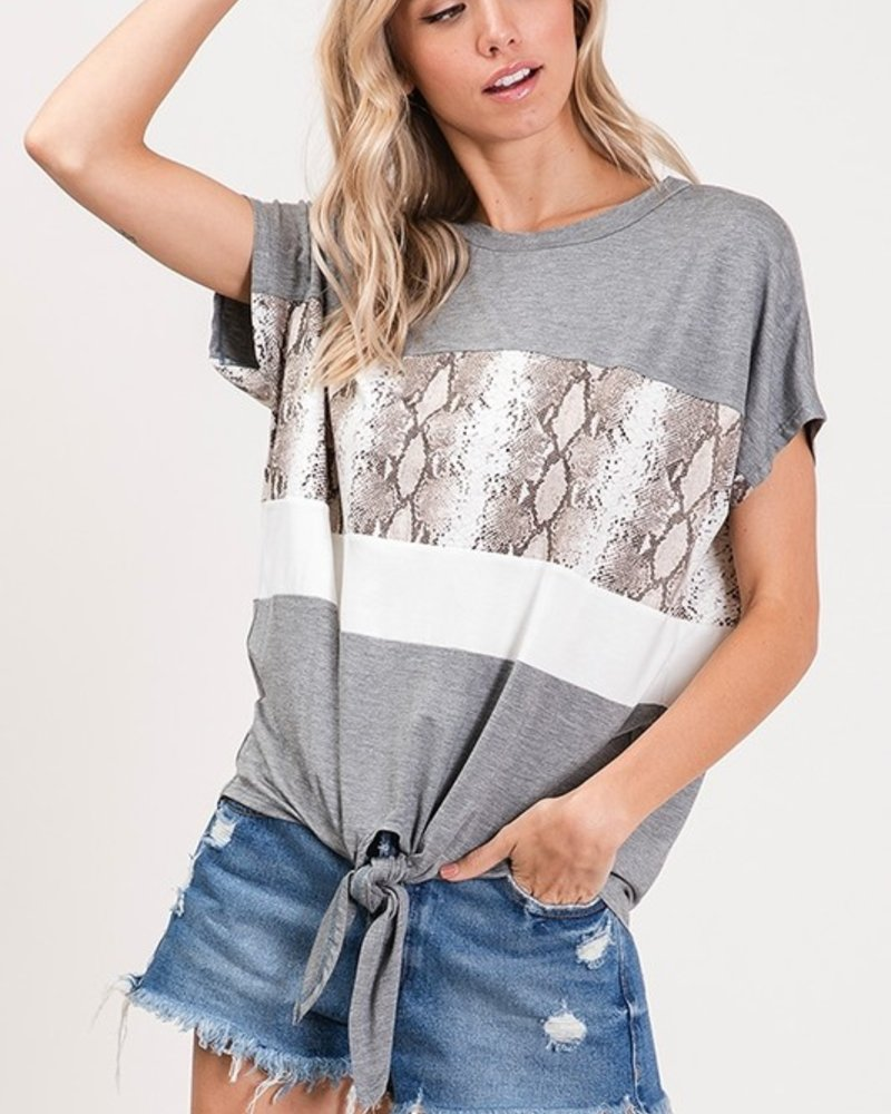 CY Fashion Animal Accent Color Block Top