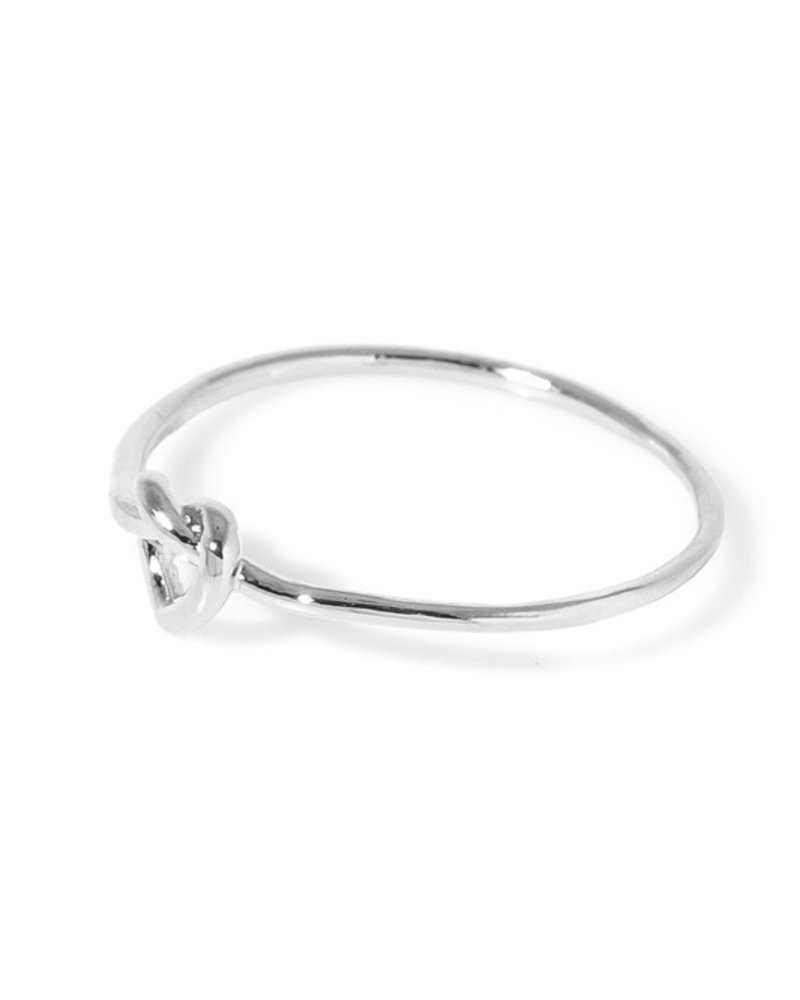 Dainty metallic heart knot band ring