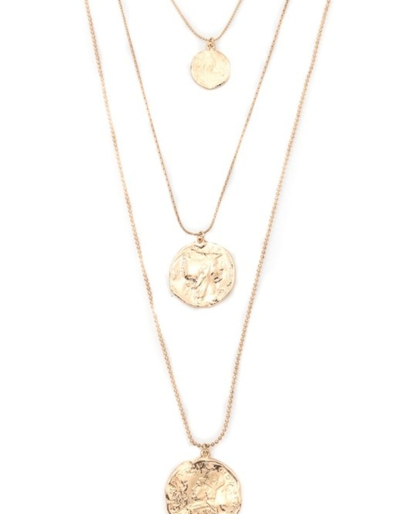 Its Sense Chic layered hammered coin pendant necklace