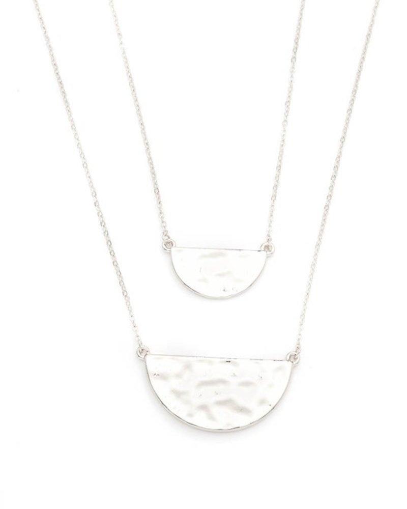 Dainty hammered split half disks necklace