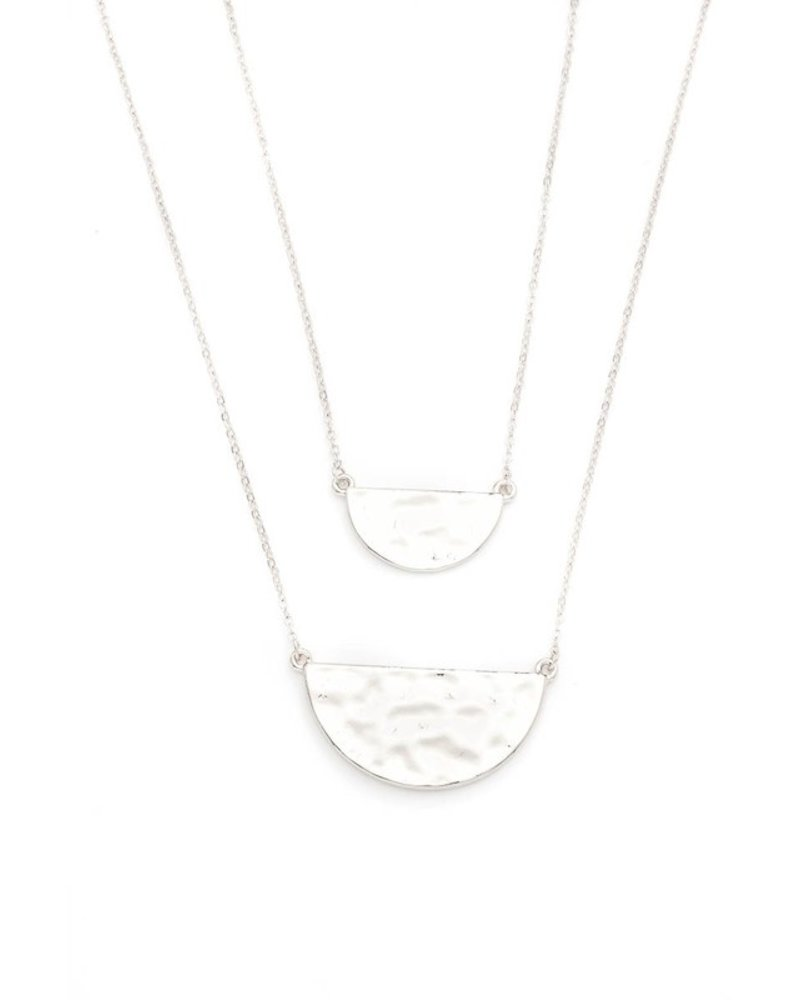 Dainty hammered split half disks necklace
