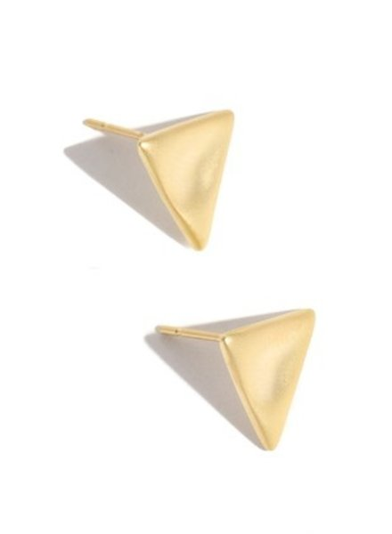 Triangle metallic polished stud earring