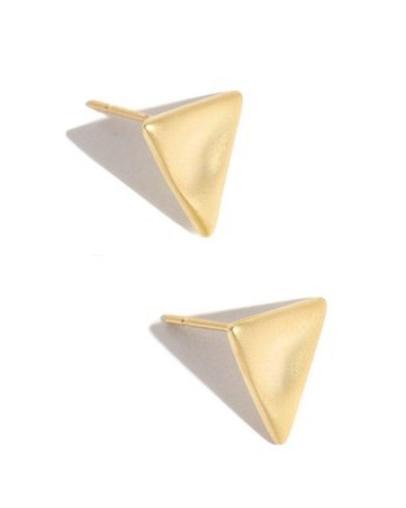 Triangle metallic polished stud earring