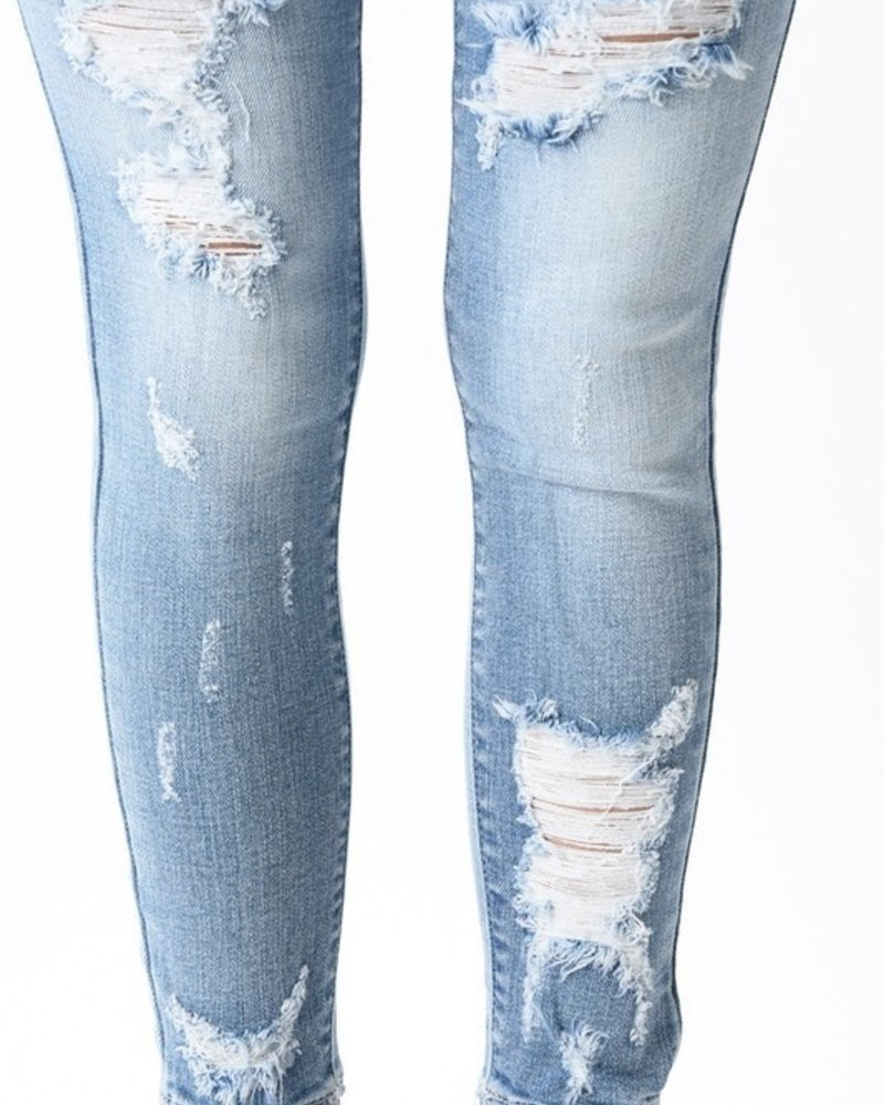 KanCan B. Mid Rise Ankle Skinny Fully Distressed