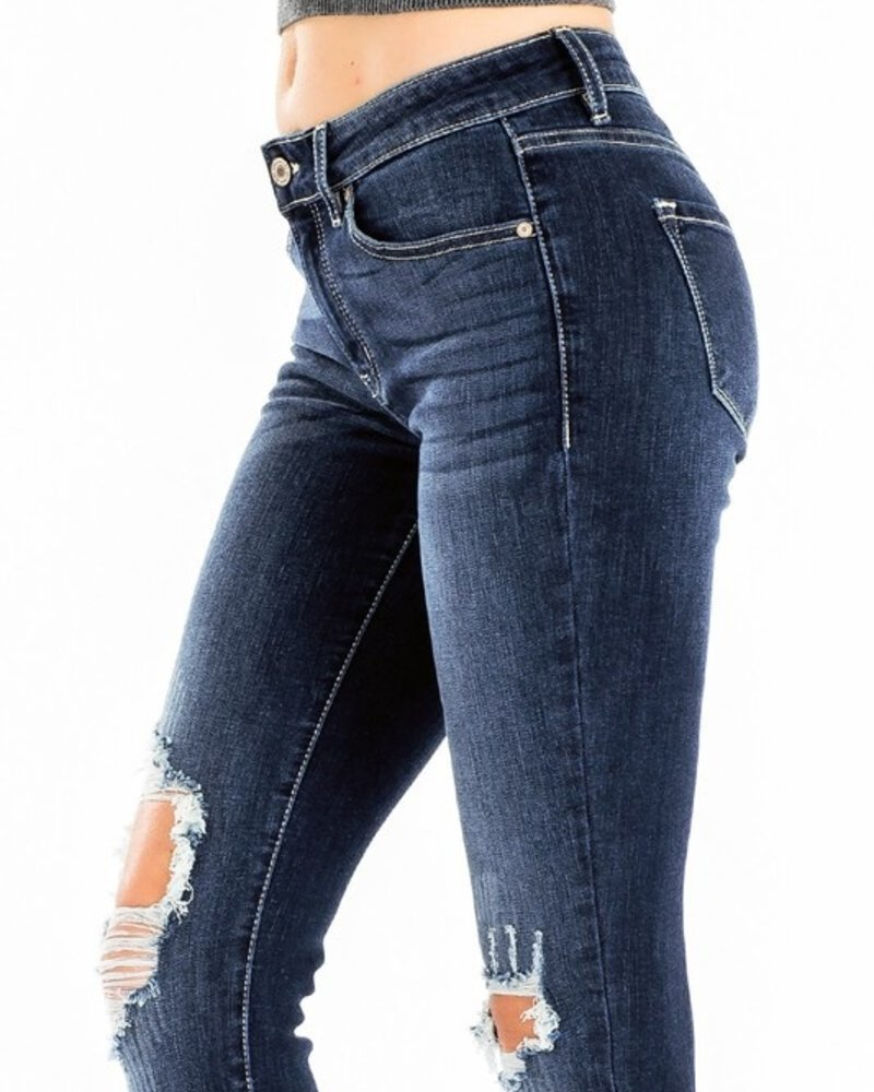 KanCan Mid Rise Super Skinny Jeans Knee Distressed