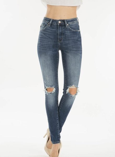 KanCan Gemma High Rise Super Skinny Jeans Knee Distressed