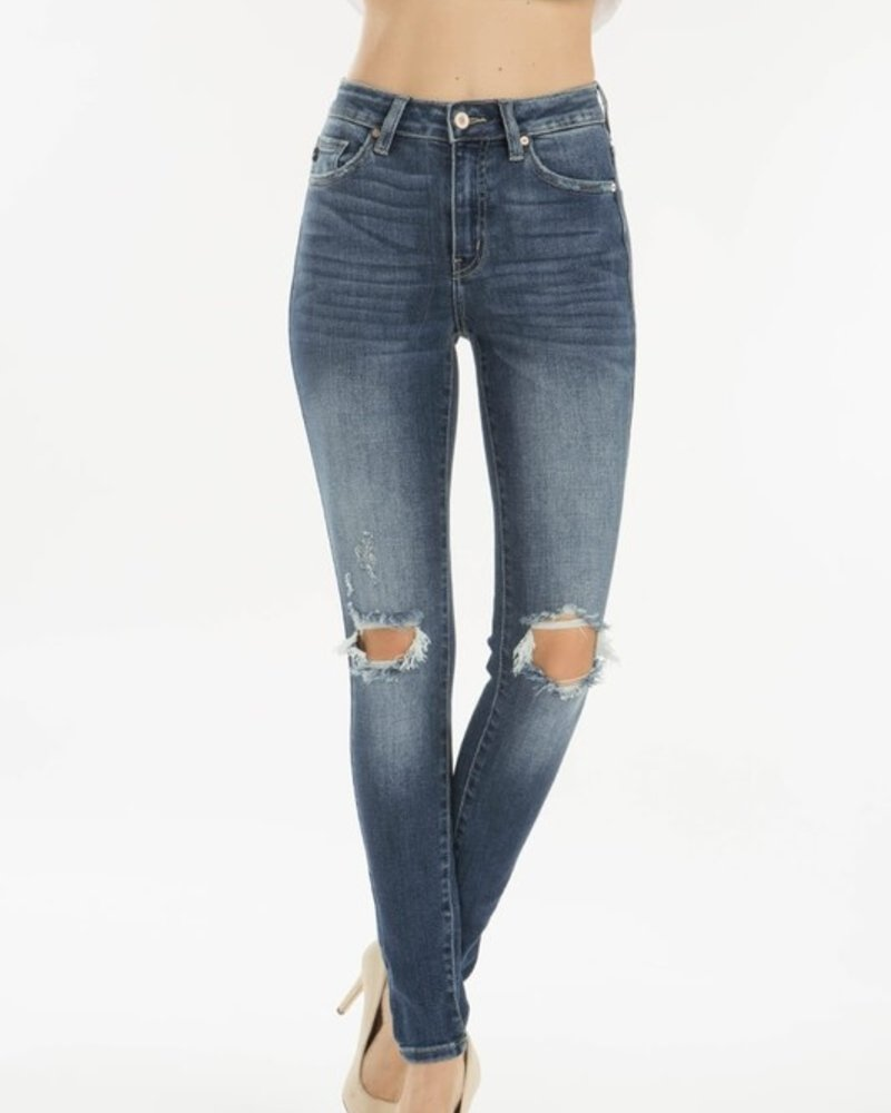 KanCan Gemma High Rise Super Skinny Jeans Knee Distressed
