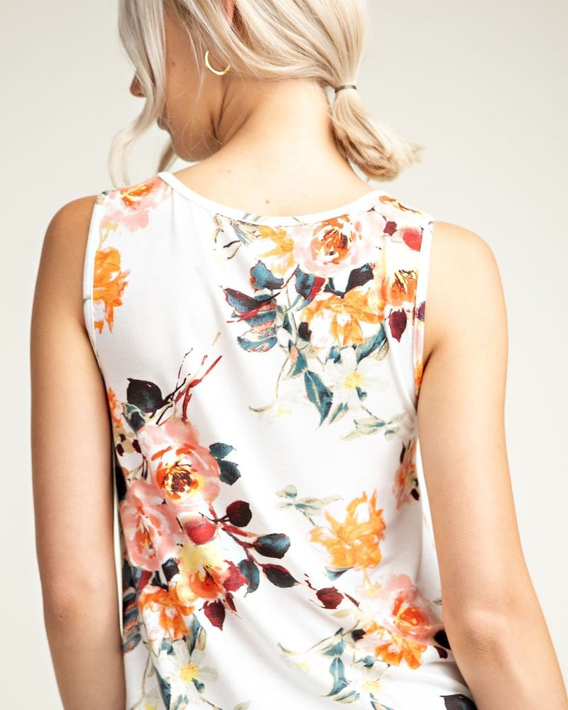 12PM Floral Round Neck Tank Top