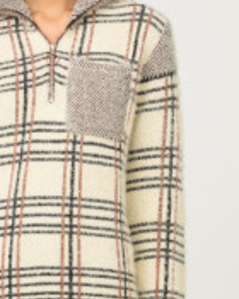 Fuzzy Plaid Quarter Zip