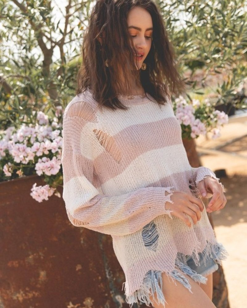 POL Clothing Lightweight Distressed Sweater Top