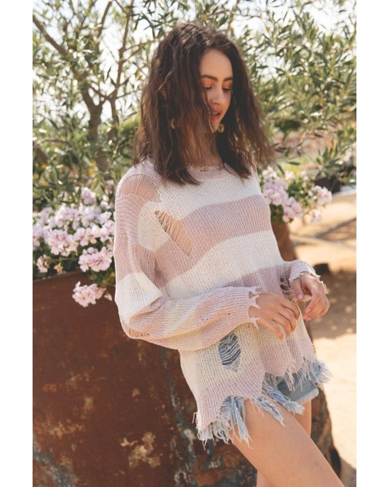 Lightweight Distressed Sweater Top
