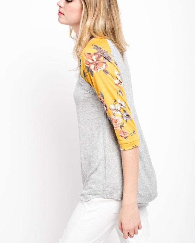 12PM Kids 3/4 Sleeve With Floral Rayon Knit