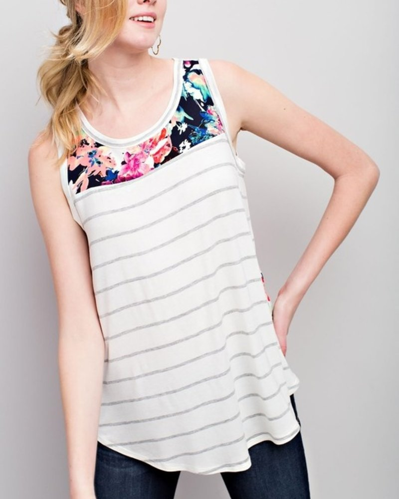 12PM Striped Tank With Floral Backing