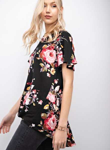 12PM Short Sleeve Round Neck Top With Ruffled Sleeves
