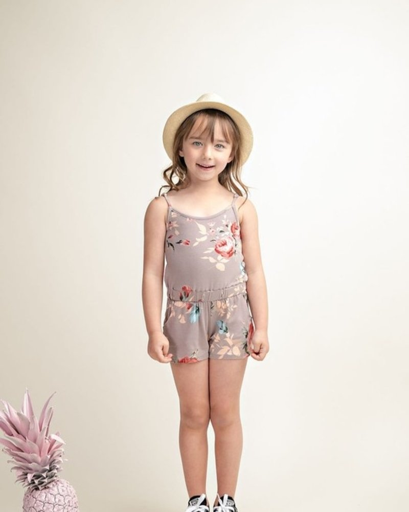 12PM Kids Blossoming Floral Print Romper With Elastic Shirring