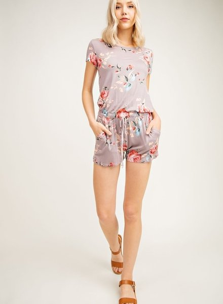 12PM Blossoming Floral Print Romper With Elastic Shirring