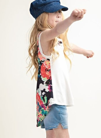12PM Kids Tank With Floral Backing