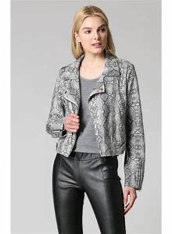 Fate by LFD Snake Skin Print Suede Moto Jacket