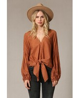 by together Gauze top w/puffy arm detail