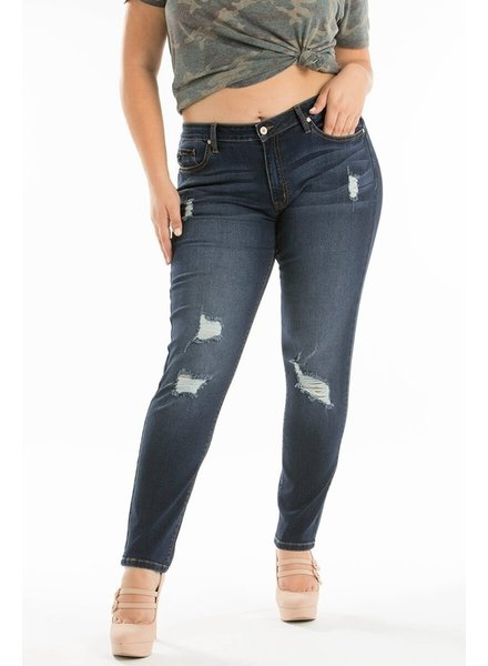 KanCan Plus Size Distressed Gemma Mid Rise Super Skinny Jeans
