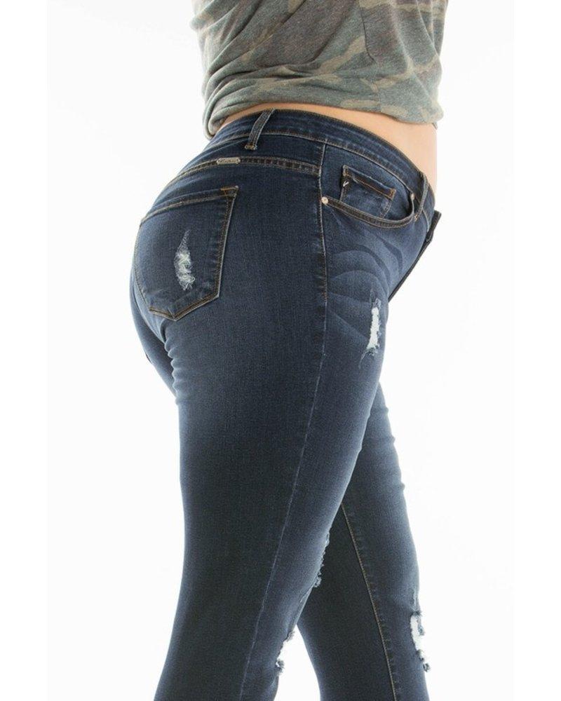 KanCan Plus Size Distressed Gemma Mid Rise Super Skinny Jeans