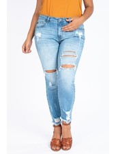 KanCan Plus Size Distressed Gemma Mid Rise Ankle Skinny Jeans