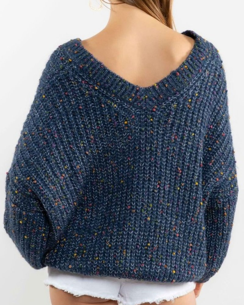 V Neck Sprinkle Cupcake Inspired Wool Sweater