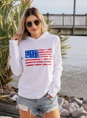 Ocean & 7th Long Sleeve Distressed Flag Hooded Tee