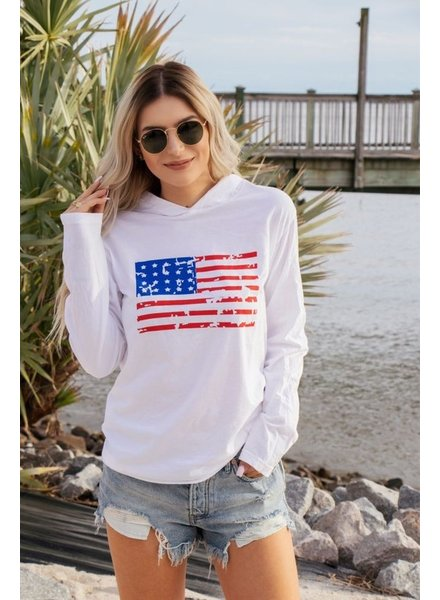 Ocean & 7th Long Sleeve Distressed Flag Hooded Tee
