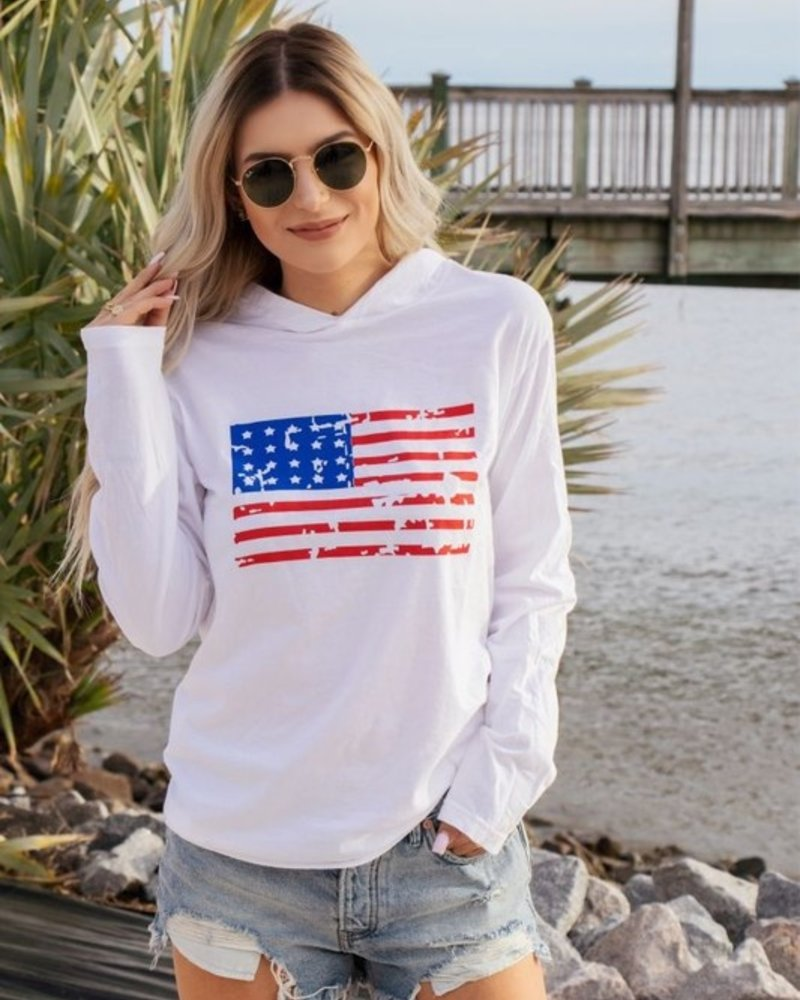 Long Sleeve Distressed Flag Hooded Tee