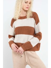 Crewneck Bold Striped Ribbed Detail Sweater