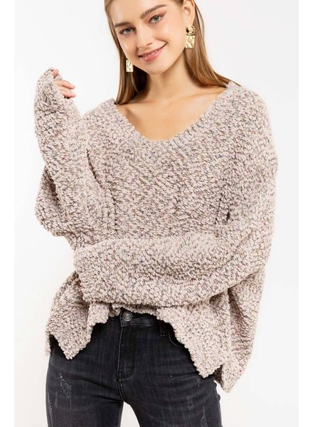 Cropped V-neck Popcorn Sweater
