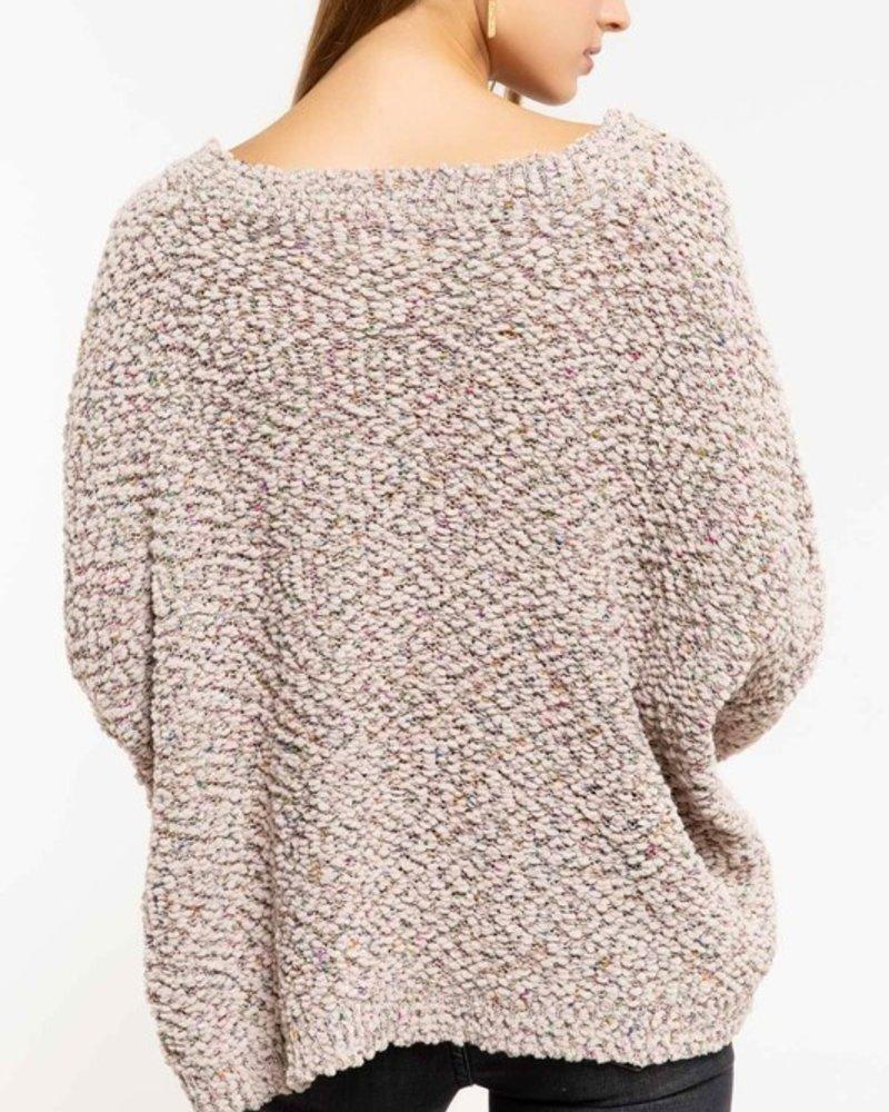 Cropped V-neck Popcorn Sweater