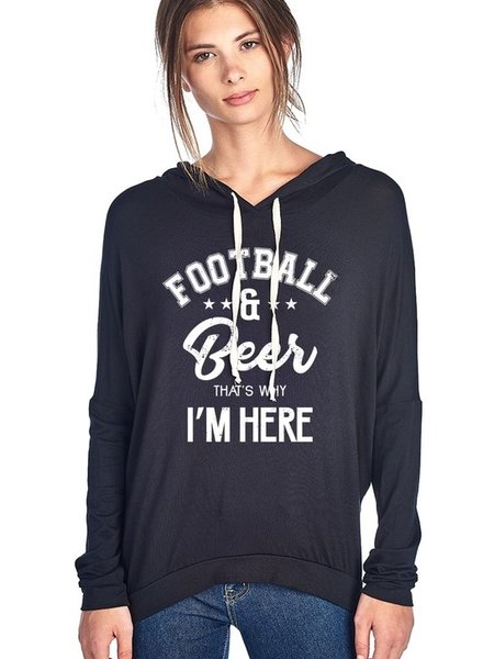 Football and Beer That's Why I'm Here Hoodie