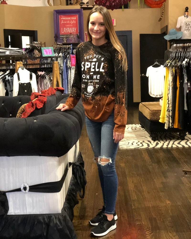 Southern Bliss You Put A Spell On Me Bleached Long Sleeve Tee