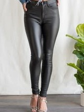 Sneak Peek Mid Rise Faux Leather Skinny Jean