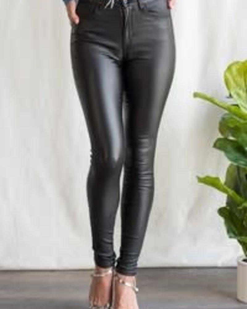 Sneak Peek Mid Rise Faux Leather Skinny Jean