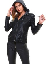 Cezele Faux Leather Jacket with Hood