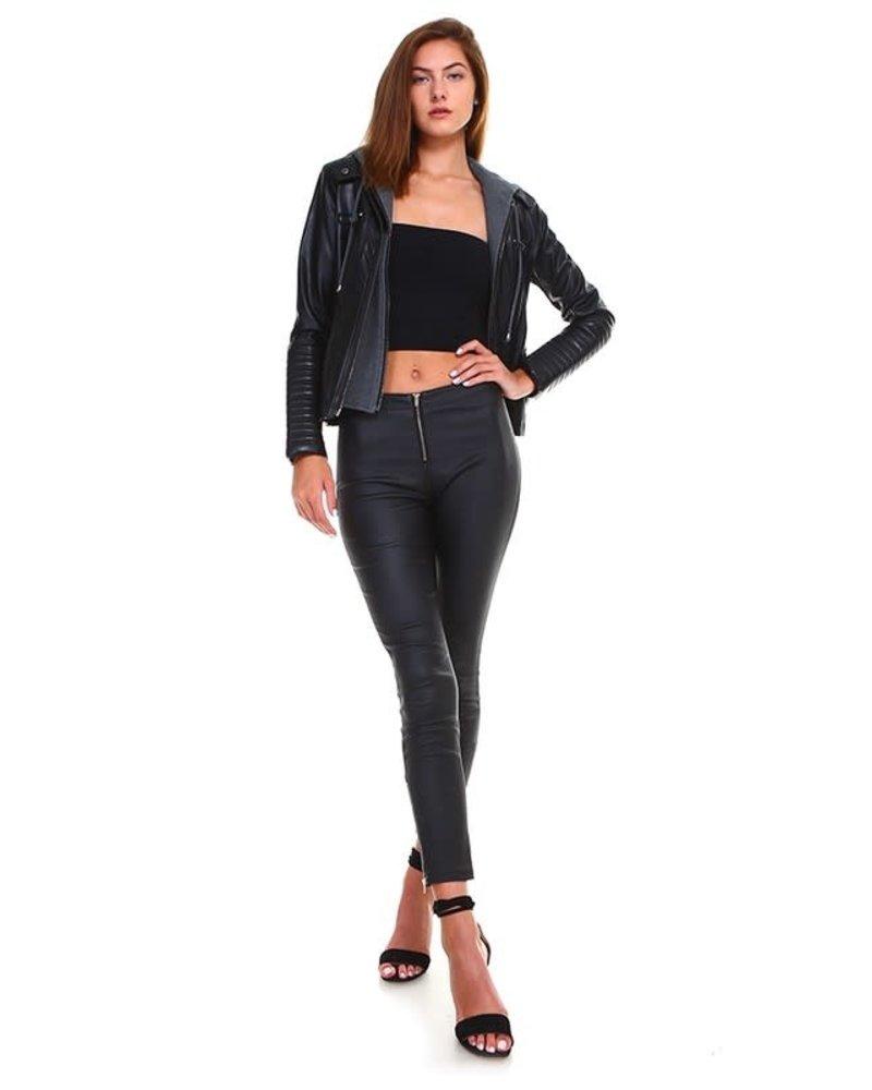 Cezele Faux Leather Jacket with Hood