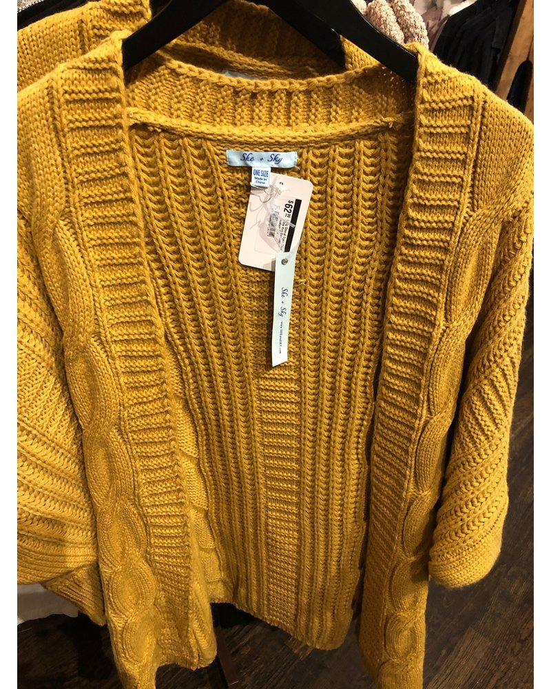 she and sky Long Sleeve Open Front Cable Knit Sweater