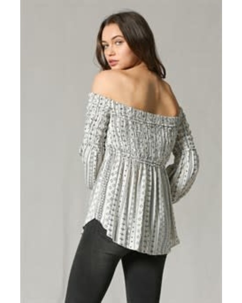 by together Crinkle Gauze Off the Shoulder Top with Bell Arms
