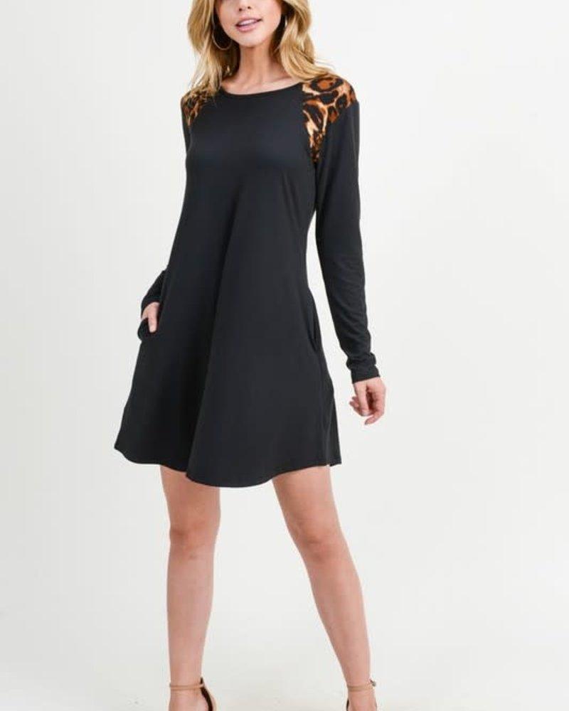 Yelete Leopard Shoulder Panel A-Line Dress